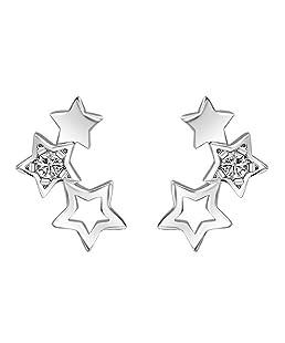Fashion Women Party Banquet Jewelry Hollow Star Ear Studs Earrings Piercing Gift - Silver Amesii