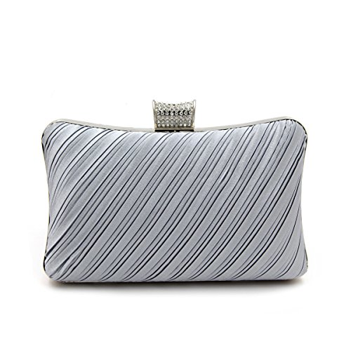 Elegant Pleated Satin Hard Clutch Rhinestones Top Evening Bag, Silver (Silver Gray Bag)