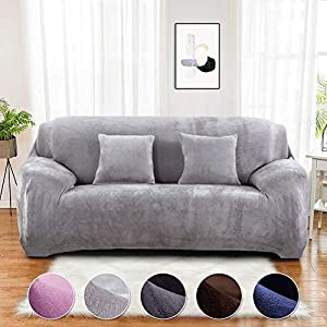 Sinoeem Sofa Covers 1 2 3 4 Seater Velvet (Free 2 pillow cases) Pure Color Sofa Slipcovers Protector Easy Fit Elastic…