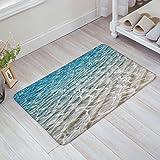 SIMIGREE Blue Rippled Sandy Beach Sea Door Mats Kitchen Floor Bath Entrance Rug Mat Absorbent Indoor Bathroom Decor Doormats Rubber Non Slip 18' x 30'