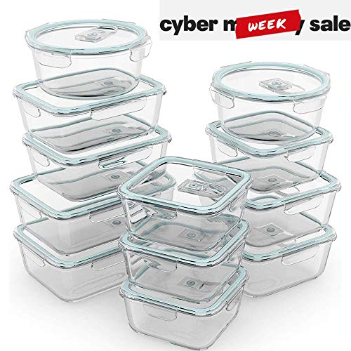Razab 24 Piece Glass Food Storage Containers w/Airtight Lids - Microwave/Oven/Freezer & Dishwasher Safe - Steam Release Valve BPA/ PVC Free -Small & Large Reusable Round, Square & Rectangle - Square Glass Storage