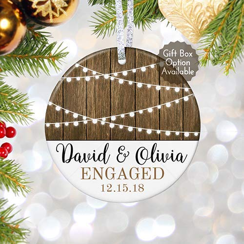 our first christmas engaged ornament 2018 rustic personalized bridal shower gift for bride to be