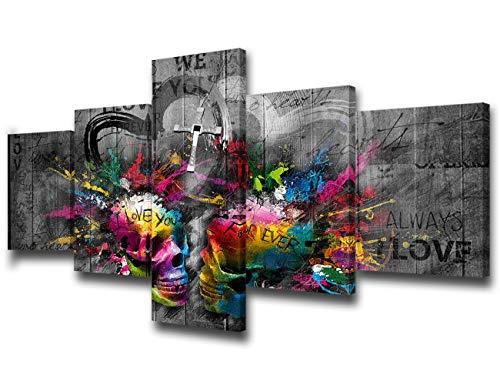 TUMOVO Music Artwork Wall Decor Sugar Skull Decor Black and White Canvas 5 Piece Canvas Art Modern Artwork Home Decorations for Living Room Framed Gallery-Wrapped Stretched Ready to ()