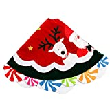 Valery Madelyn 38 Inch Joyful Santa, Snowman and Deer Multicolor Velvet Christmas Tree Skirt for Kids, with Lollipops Trim Border, Themed with Christmas Ornaments(Not Included)