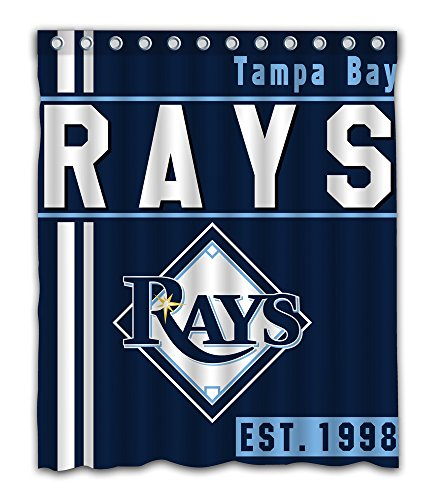 (Tampa Bay Baseball Team Emblem Waterproof Shower Curtain Blue Design Polyester for Bathroom Decoration 60 x 72 Inches with 12-Pack Plastic Hooks)