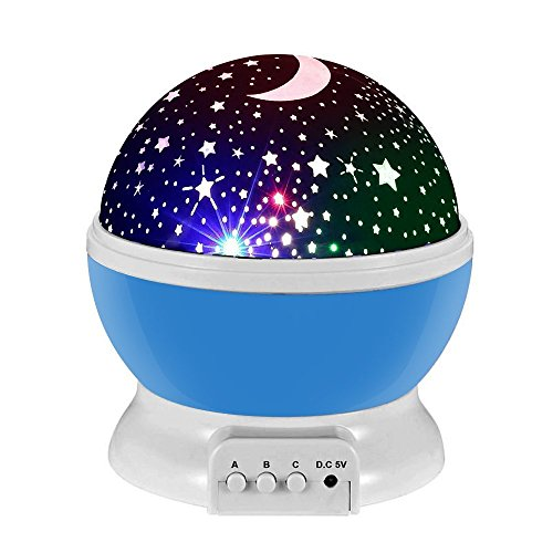 Child Starry Projector Night Light, Decoration Lamp for Children with 3 Modes, 360 Degree Rotating Romantic Starry Sky and Moon Projector Colorful LED Star Lights for Kids Children Bedroom (Blue) For Sale