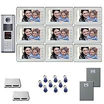 Building Video Intercom Nine 7 inch color monitor door panel kit