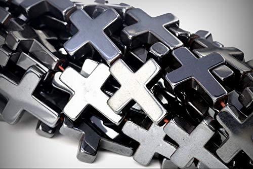 Black Hematite Cross - Approx. 23 Beads Lot - 17x14mm Black Hematite Cross Color Grade AAA Loose Jewelry Making Beads 15.5