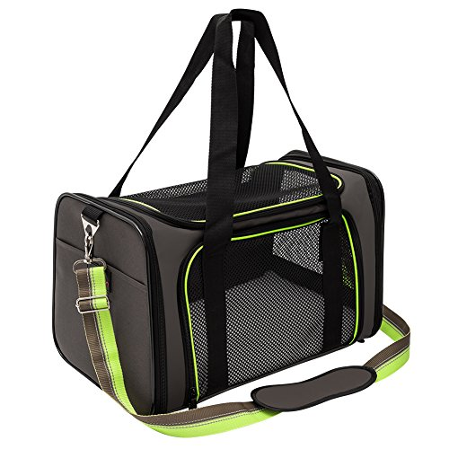 Pet Carrier Compatible Dog and Cats, Airline Approved Bag, Travel Collapsible for Small Puppy Up to 15lbs, Soft Side Dog Crate, Portable Kennel for Puppies (Medium, Green) ()
