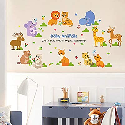 ufengke Baby Animals Wall Stickers Forest Elephant Giraffe Wall Art Decals Wall Decor for Kids Bedroom Nursery Living Room: Baby