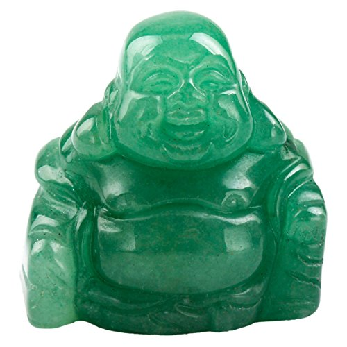 rockcloud Healing Crystal Gemstone Carved Laughing Happy Buddha Feng Shui Figurines Wealth and Good Luck 1.5