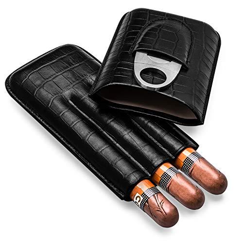 ZGAR Cigar Case, Genuine Leather Cigar Travel Case with Cutter, 3-Finger Black