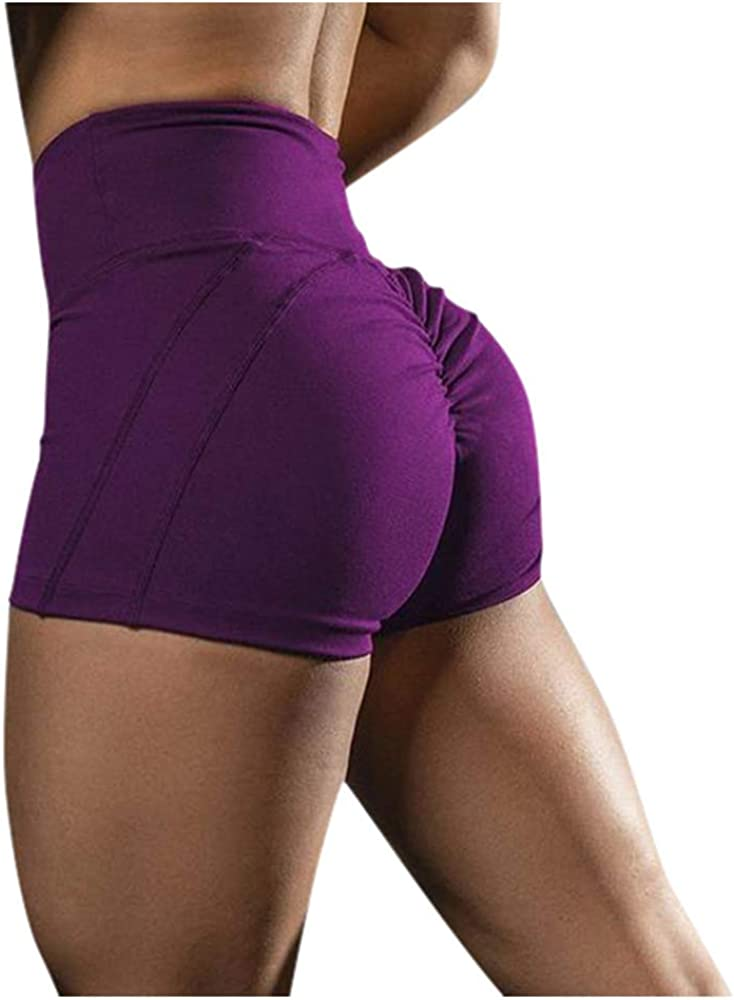 Aniywn Women's Active Shorts High Waist Fitness Sports Yoga Shorts Quick-Dry Ruched Workout Running Shorts Pants
