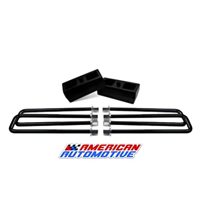 "American Automotive UBRB10-490, 2"" Rear Suspension Lift Solid Cast Iron Blocks Plus 12"" Extra Long, Square Leaf Spring Axle U Bolts: Automotive"