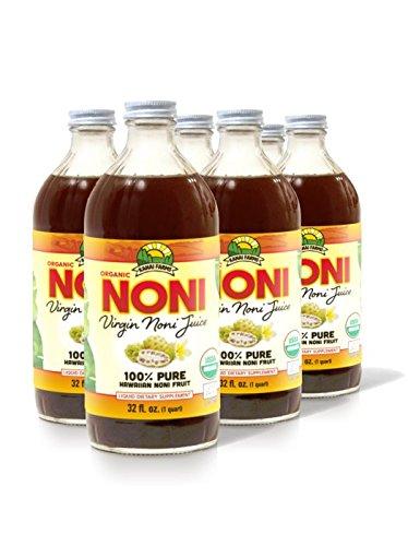 Virgin Noni Juice - 100% Pure Organic Hawaiian Noni Juice - 6 Pack of 32oz Glass Bottles
