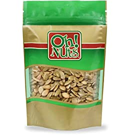 Pumpkin Seeds Roasted Salted, Pepitas Roasted Salted Great for Healthy Snacking or Salad Toppings No Shell - Oh! Nuts 19 Shelled Roasted Salted Pumpkin Seeds Carefully packaged in a reaselable bag to retain freshness. Low Carb, High Protien