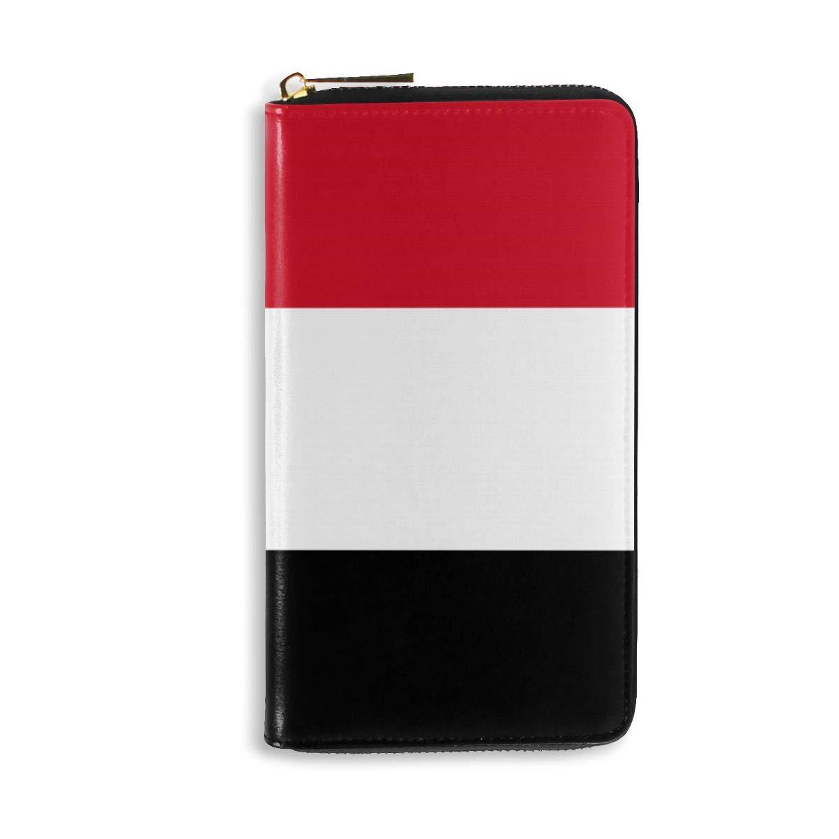 Caesar Melville Flag of Yemen Coin Purse Canvas Bags Leather Long Wallet Handbag