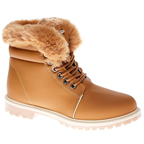 Womens UP Flat Winter Top Snow 8 Fashion Grip Fur Casual 3 Lined Ankle Boots High Lace Size Collar Army Ladies Shoes Camel Combat Warm Sole MyShoeStore qwTxntH0FH