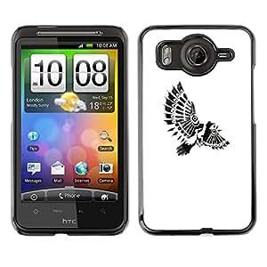 FlareStar Colour Printing Bird Paraplane Indian Feathers White cáscara Funda Case Caso de plástico para HTC Desire HD / inspire 4G / G10