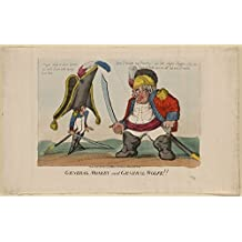 1803 Photo General Monkey and General Wolfe!! Print shows Napoleon I, wearing a large hat, carrying a long sword, and having a body where his shoulders rest on his waist, cowering before the large ogr