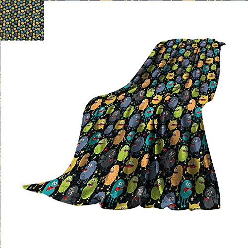 smallbeefly Alien Weave Pattern Blanket Cute Funny Characters Cartoon Style Halloween Themed Monsters Abstract Background Custom Design Cozy Flannel Blanket 62