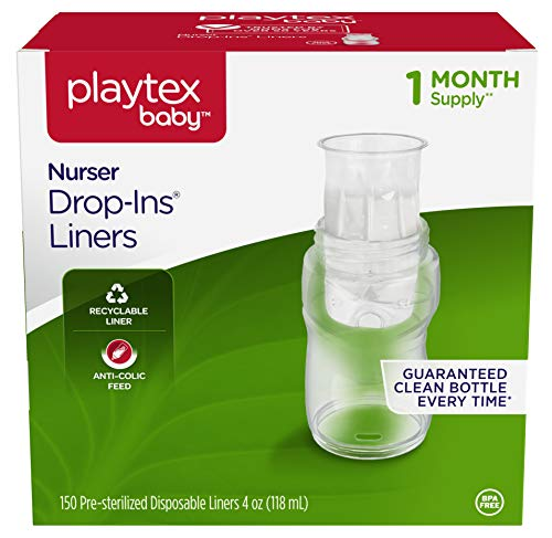 Playtex Disposable - Playtex Baby Nurser Drop-Ins Baby Bottle Disposable Liners, Closer to Breastfeeding, 4 Ounce, 150 Count