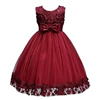 Acecharming Baby Girl Flower Lace Hemline Wedding Party Ball Gown Dress(2-10 Years Old) Burgundy