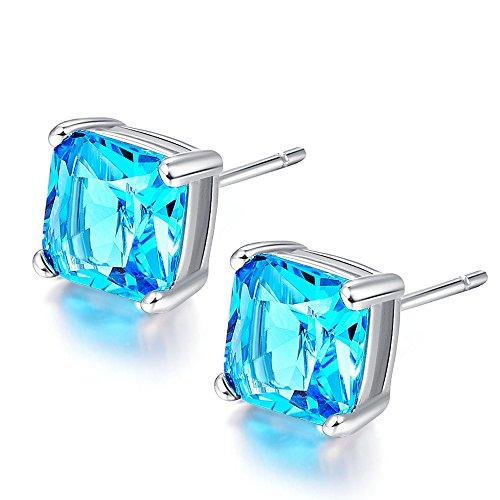 MALANDA Brand stud earrings for women with excellent zircon earrings jewelry gift (Aqua (Aqua Blue Earrings)