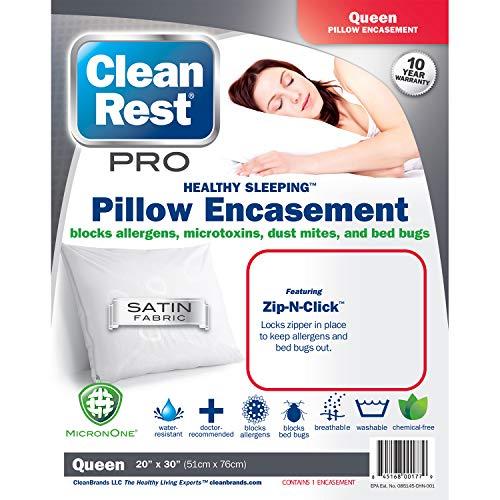 Clean Rest Pro Waterproof, Allergy and Bed Bug Blocking Pillow Encasement, Queen ()