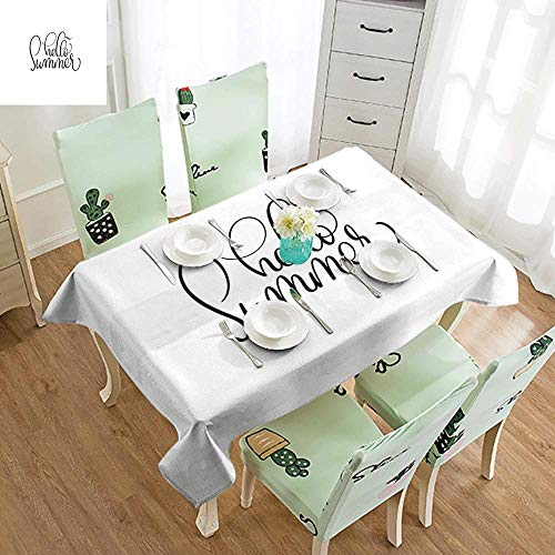 DILITECK Easy Care Tablecloth Hello Summer Calligraphy Handwritten Lettering Illustration in Black Vintage Swirly Style Picnic W70 xL102 Black - Swirly Snow