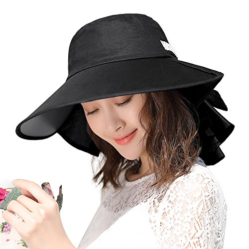 (Womens Sun Protection Hats Summer Gardening Fishing Hiking Shades Hat UPF 50 Wide Brim Crushable Black Siggi)