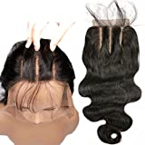 3 Part Lace Closure 4×4 Body Wave Human Hair Closure Piece with Baby Hair Natural Black Color No Bleached Knots (18 inch) For Sale