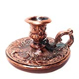 Small Chamberstick Candle holder, Cast, Metal Alloy with Copper Coating