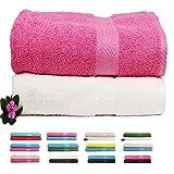 Trident 2 Pieces 450 GSM Cotton Bath Towel Combo Set, Pink & White