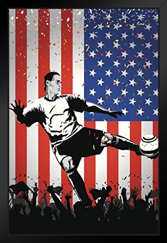 USA Soccer Player Sports Framed Poster by ProFrames