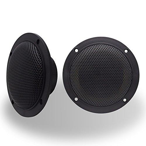 (Hyyer Car Boat Waterproof Marine Speakers 2-Way Full Range Golf Carts Yacht 4'' inches Pair Black)