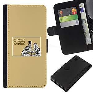 KLONGSHOP // Tirón de la caja Cartera de cuero con ranuras para tarjetas - Hombre Mujer Que Bebe Cita Amor divertido - Sony Xperia Z1 L39 //