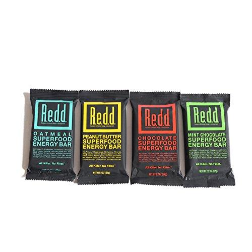Redd Gluten Free Plant Based Superfood Energy Bar Variety Pack, 24 Bars