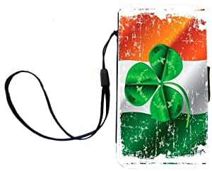 Rikki KnightTM Shamrock on Irish Flag Grunge Design Galaxy S4 PU Leather Wallet Type Flip Case with Magnetic Flap and Wristlet for Samsung Galaxy S4 i9500 by runtopwell