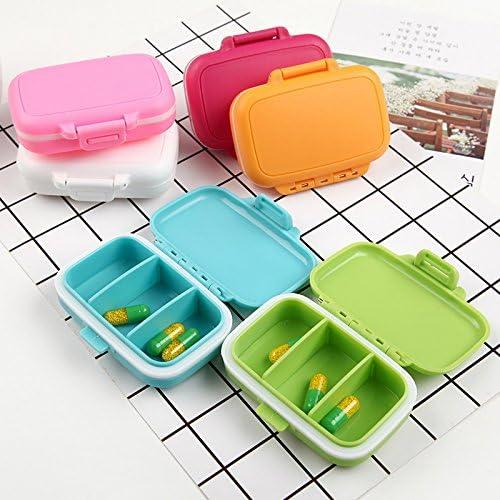 9 colores Pastillero plegable port/átil con 3 ranuras para almacenamiento diario color azul