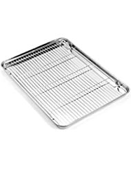Zacfton Baking sheets and Rack Set, Cookie pan with Nonstick Cooling Rack & Cookie sheets Rectangle Size 16 x 12 x 1 inch,Stainless Steel & Non Toxic & Healthy,Superior Mirror Finish & Easy Clean