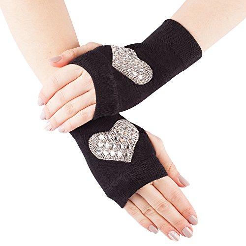 GLV147-Black Fingerless Stretch Knit Gloves with Diamante Heart Design (Diamante Knit)