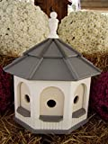Large Poly Octagon Handcrafted Handmade Homemade Birdhouse Garden White & Gray Roof