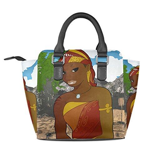 PU Leather Girl African Bag Shoulder Art Rivet Bag Bennigiry Tote Purse Women's SxfZwqwX