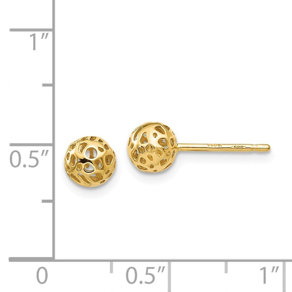 FB Jewels Solid 14K Yellow Gold Medium Fancy Ball Post Earrings