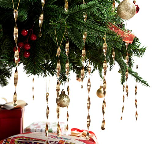 AMS Christmas Tree Ornaments 7 Aluminum Spiral Strip Hangings - 24pcs Ornaments Box Set - Icicles Twisted Decorations for Any Holiday Party Wedding Accessories (Gold)