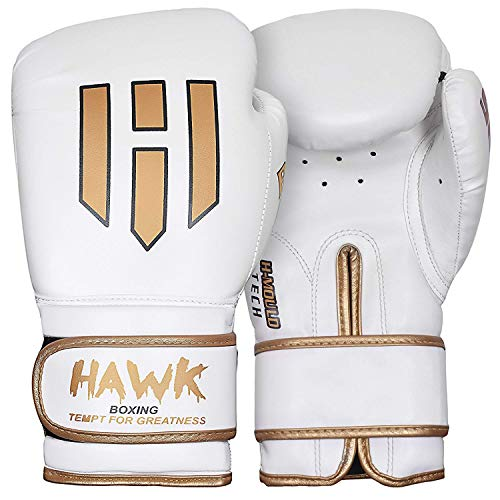 Hawk Boxing Gloves for Men & Women Training Pro Punching Heavy Bag Mitts UFC MMA Muay Thai Sparring Kickboxing Gloves, 1 Year Warranty!!!! (White, 8 oz)