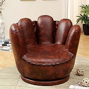 1PerfectChoice Mitte Baseball Glove Design Kids FUN Accent Swivel Chair Padded Seat PU Leather