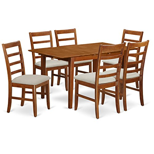 East West Furniture PSPF7-SBR-C 7 Piece Rectangular Kitchen Table Featuring 18