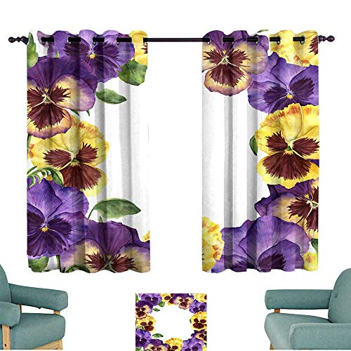 Warm Family Noise Reduction Curtain Watercolor Floral Card with Pansy Flowers Hand Painted illustra Privacy Protection